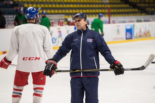 Asistent trenéra Josef Jandač během tréninku hokejové reprezentace ve Znojmě.