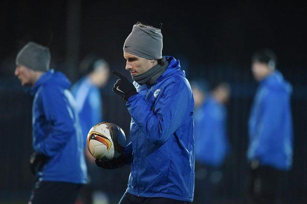 Liberecký Michael Rabušic na tréninku před zápasem Evropské ligy s Marseille.