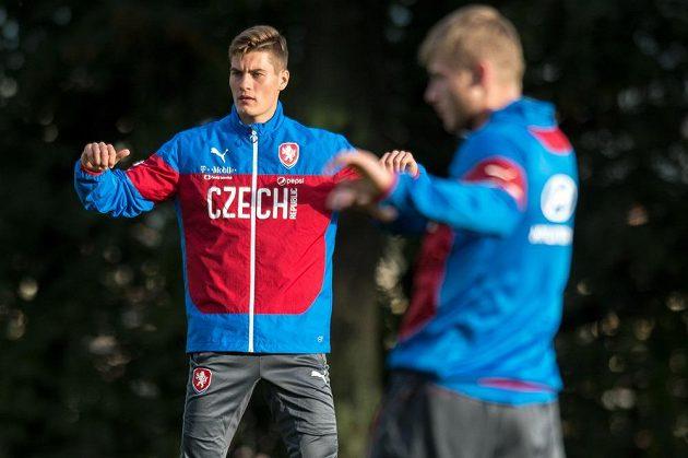 Útočník Patrik Schick během tréninku fotbalové reprezentace.