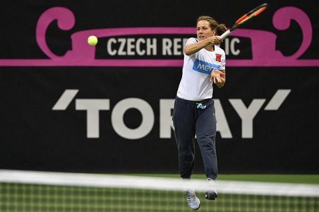 Tenistka Barbora Strýcová při tréninku před finále Fed Cupu, v němž české reprezentantky nastoupí proti týmu USA.