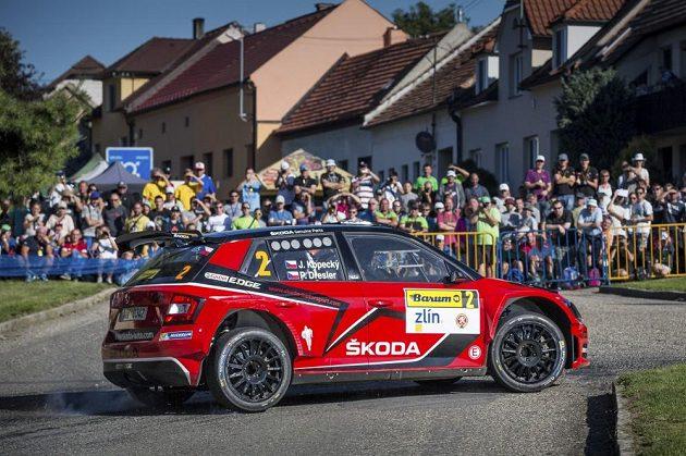 Jan Kopecký se Škodou Fabia R5 na trati Barum rallye 2016.