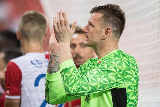 Brankář Slavie Jan Laštůvka po utkání s Teplicemi.