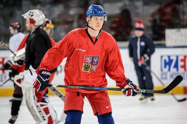 Lukáš Radil během tréninku hokejové reprezentace v Praze.