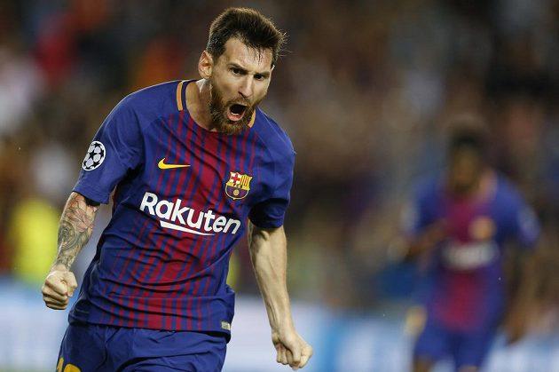 Barcelonský Lionel Messi se raduje z gólu proti Juventusu.