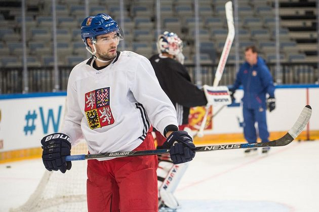 Útočník Michal Birner během tréninku české hokejové reprezentace v pražské O2 areně.