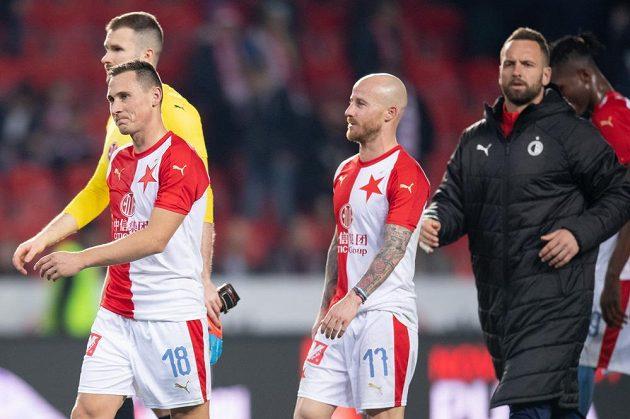 Fotbalisté Slavie Praha Jan Bořil, Ondřej Kolář, Miroslav Stoch a Přemysl Kovář po remíze s Libercem.