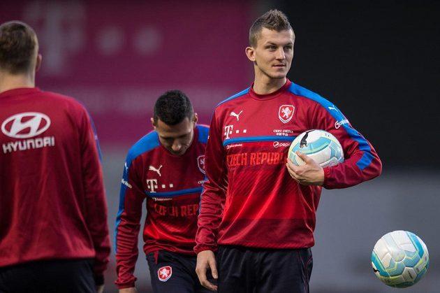 Útočník Tomáš Necid během tréninku české reprezentace.