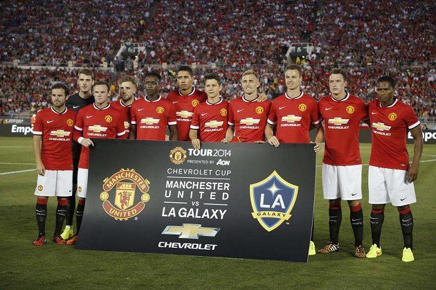 Tým Manchesteru United před utkáním s LA Galaxy.