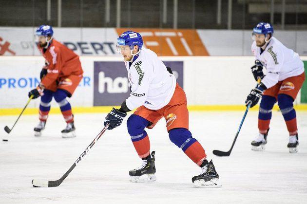 Jan Dufek během tréninku hokejové reprezentace před turnajem Beijer Hockey Games.