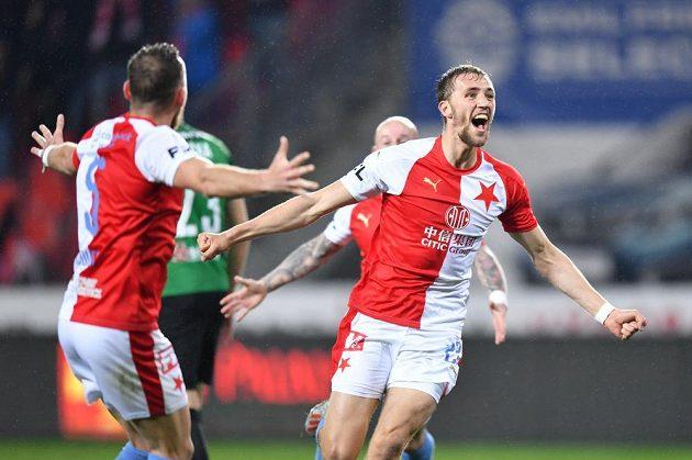Slávista Tomáš Souček se raduje z vítězné trefy proti Jablonci.