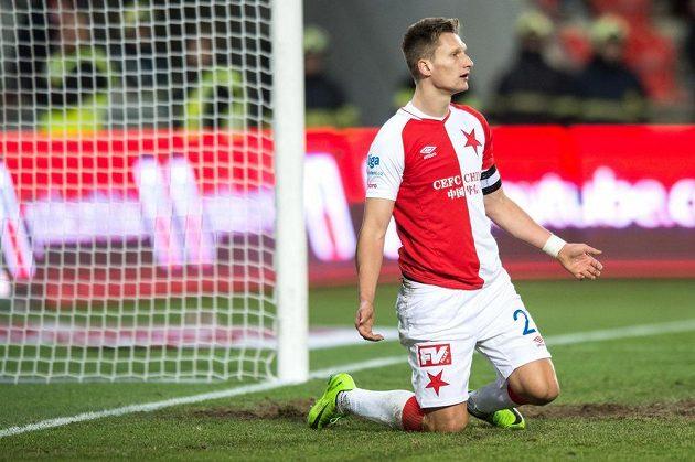 Milan Škoda ze Slavie po neproměněné šanci s Jihalvou.