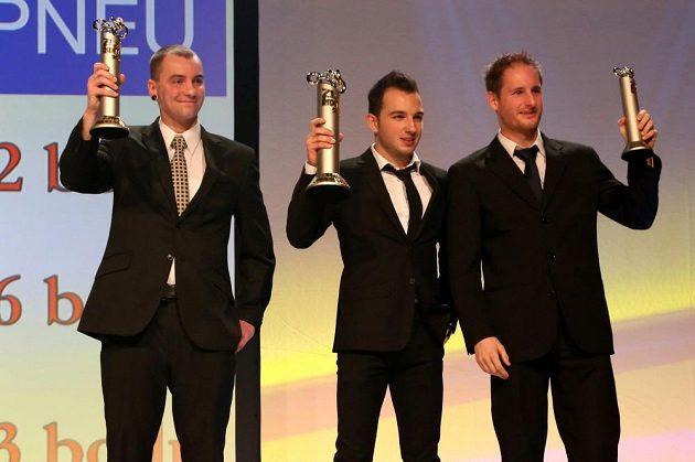 Nejlepší v jedné stopě (zleva) Pavel Kejmar, Jakub Kornfeil a Martin Michek.