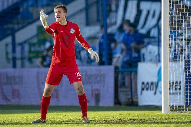 Brankář Slovácka Matouš Trmal inkasoval v Liberci tři branky z penalt.