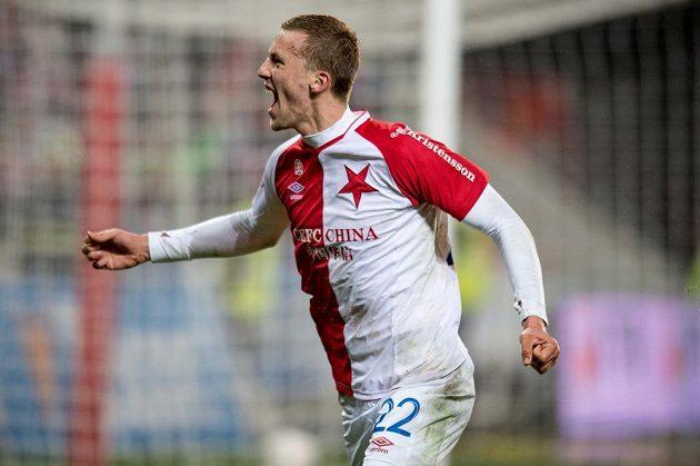 Tomáš Souček ze Slavie Praha slaví gól proti Baníku Ostrava v zápase 19. kola Synot ligy.