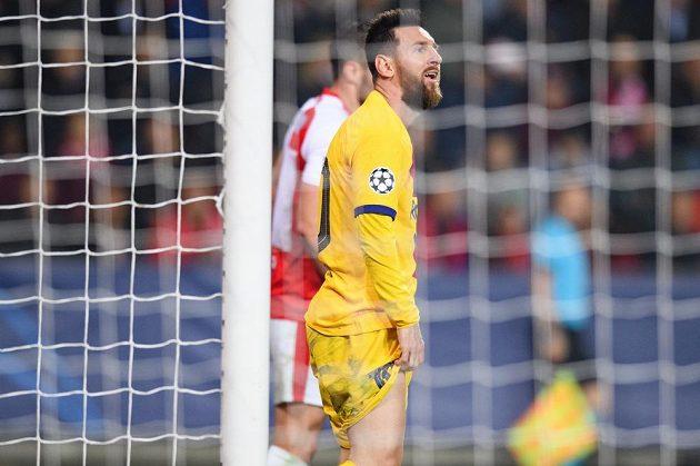 Barcelonský Lionel Messi během utkání se Slavií.
