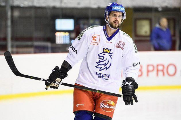 Tomáš Hyka během tréninku hokejové reprezentace před turnajem Beijer Hockey Games.