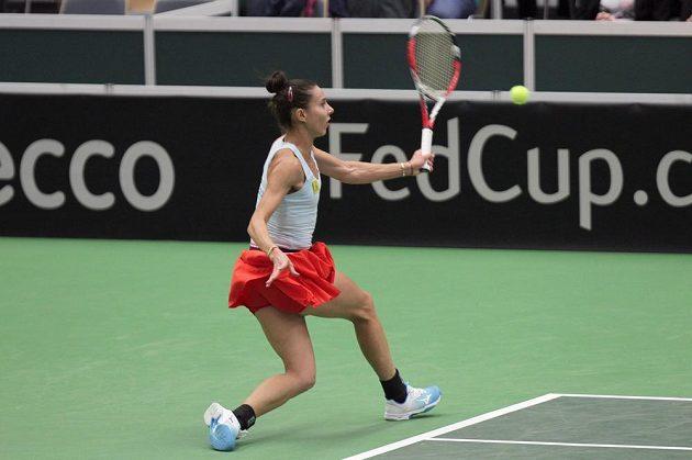 Rumunská tenistka Mihaela Buzarnescuová v úvodní dvouhře proti Karolíně Plíškové.