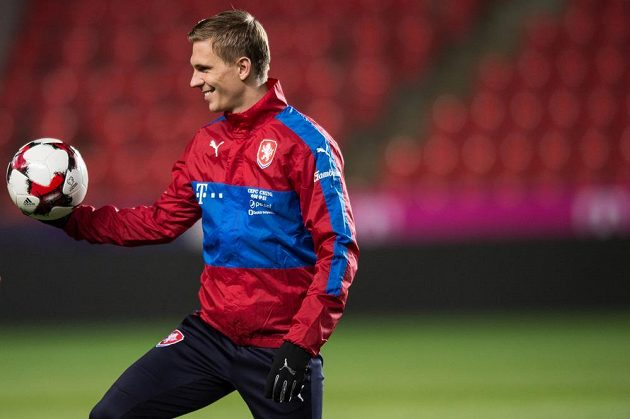 Bořek Dočkal během tréninku národního týmu.