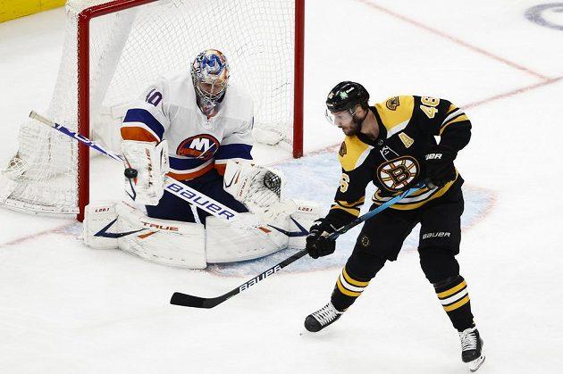 Gólman New Yorku Islanders Semjon Varlamov (40) likviduje šanci bostonského útočníka Davida Krejčího v utkání play off NHL.