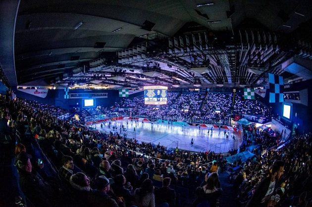 Zaplněná Ostravar Aréna na univerzitním hokejovém derby.