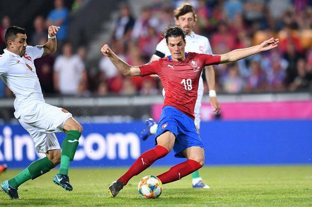 Kanonýr české fotbalové reprezentace Patrik Schick během utkání s Bulharskem v kvalifikaci o postup na EURO 2020.