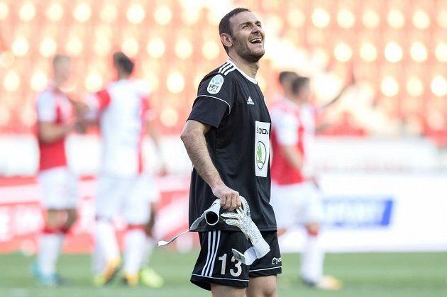 Brankář Mladé Boleslavi Kamran Agajev po utkání 5. kola HET ligy, kdy na Slavii dostal čtyři góly.