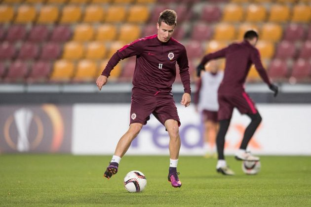 Sparťan Lukáš Mareček během středečního tréninku před zápasem Evropskéligy s Beer Ševou.