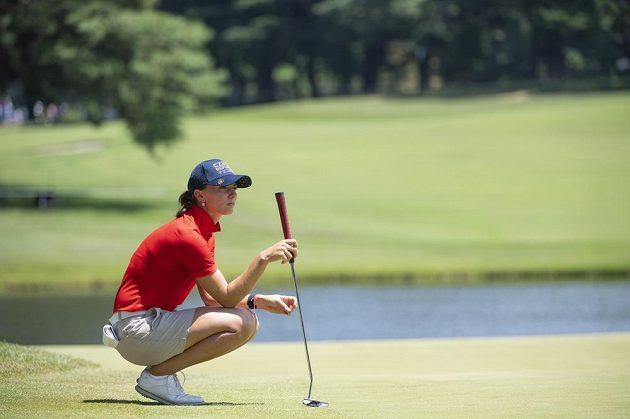 Česká golfistka Klára Spilková ve třtím kole olympijského turnaje v Tokiu.
