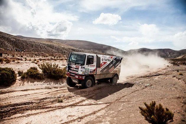 Jaroslav Valtr s kamiónem Tatra na trati 4. etapy Rallye Dakar.
