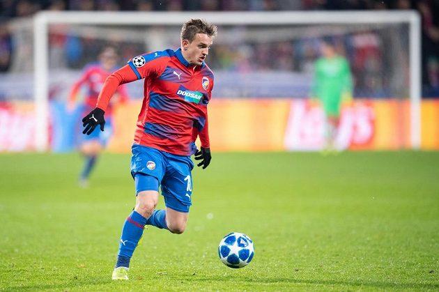 Jan Kopic z Viktorie Plzeň během utkání s AS Řím v Lize mistrů.