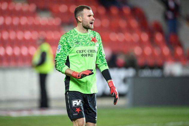 Brankář Slavie Praha Ondřej Kolář během utkání čtvrtfinále MOL Cupu s Libercem.