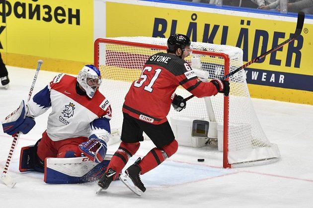 Kanadská radost, Stone právě vstřelil českému týmu první gól v semifinále MS.
