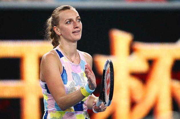 Petra Kvitová oslavuje proměněný mečbol ve svém úvodním utkání letošního Australian Open v Melbourne.