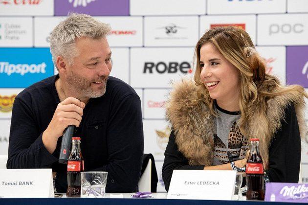 Trenér Tomáš Bank a česká hvězdička Ester Ledecká.