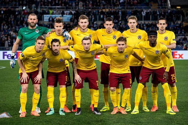 Mužstvo Sparty Praha před odvetou osmifinále Evropské ligy s Laziem v Římě.