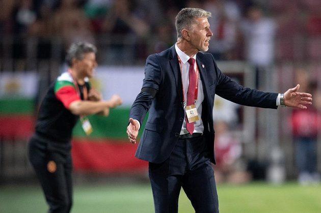 Český trenér Jaroslav Šilhavý během utkání kvalifikace ME 2020 proti Bulharsku.