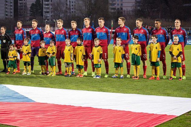 Fotbalisté české reprezentace před přátelským utkáním s Litvou.