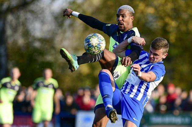 Zleva Jean-David Beauguel z Plzně a Jakub Havel z Chlumce v utkání osmifinále českého fotbalového poháru MOL Cupu.