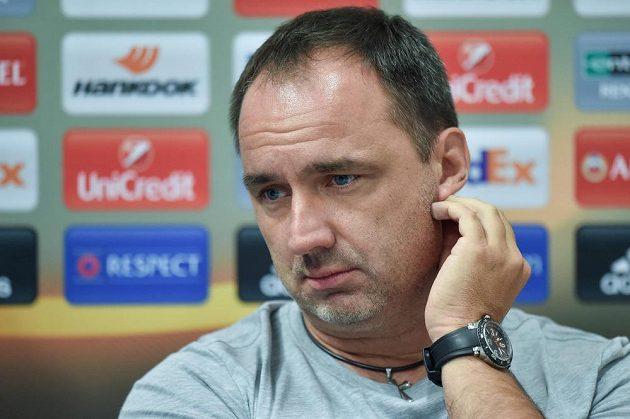 Liberecký trenér Jindřich Trpišovský na tiskové konferenci před zápasem Evropské ligy s PAOK Soluň.