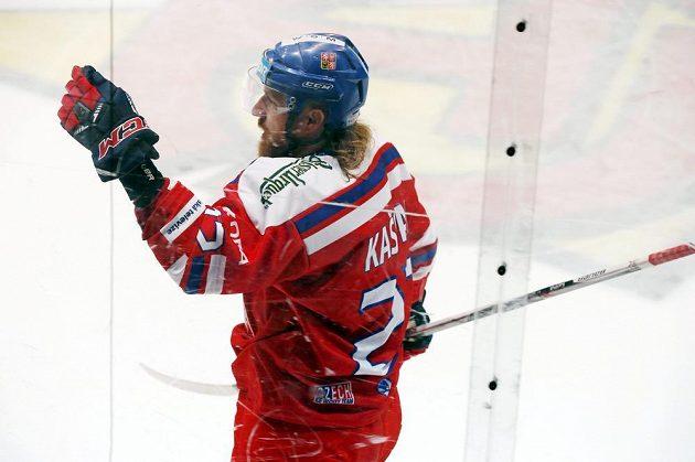 Lukáš Kašpar se raduje z gólu proti Finsku v utkání EHT.