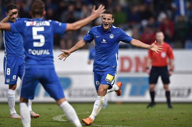 Herolind Shala jásá, dal gól na 2:0 pro Liberec během utkání 3. předkola Evropské ligy s Hapoelem Kirjat Šmona.
