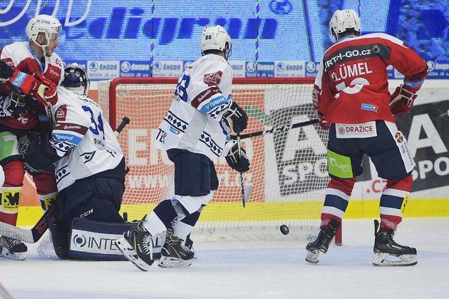 Hokejisté Pardubic dávají branku, přihlíží zleva Martin Látal z Pardubic, brankář Plzně Dominik Frodl, Petr Kodýtek z Plzně a Matěj Blümel z Pardubic.