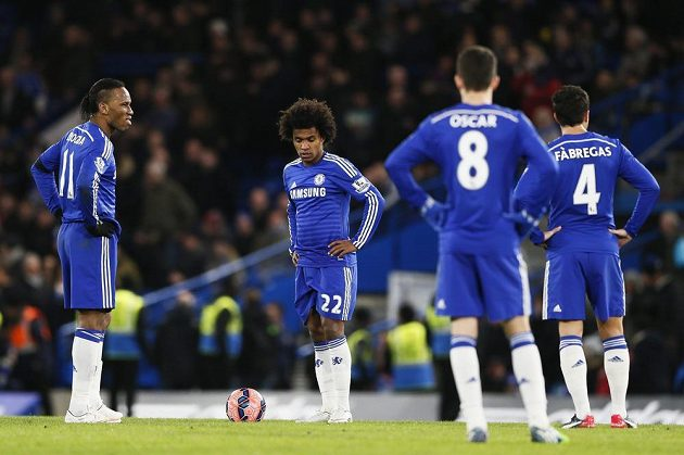 Zkoprnělí hráči Chelsea...