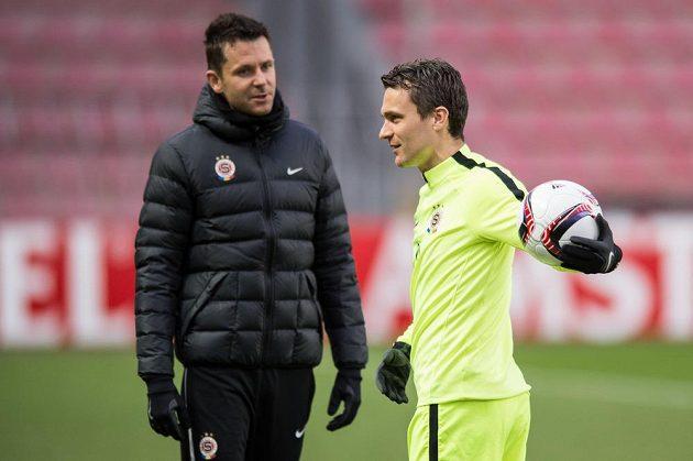 David Lafata (vpravo) a David Holoubek během tréninku před utkáním play off Evropské ligy s Rostovem.