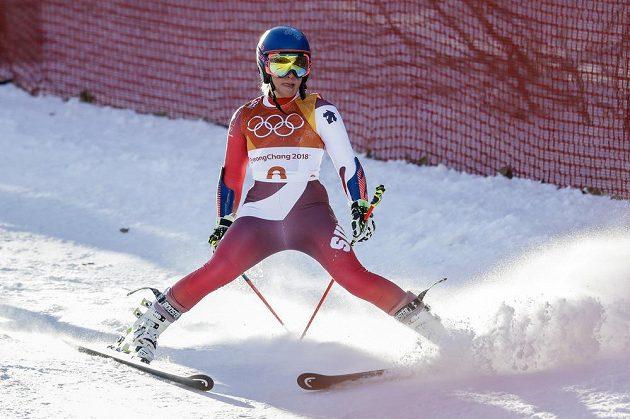 Švýcarka Lara Gutová první jízdu olympijského obřího slalomu nedokončila.