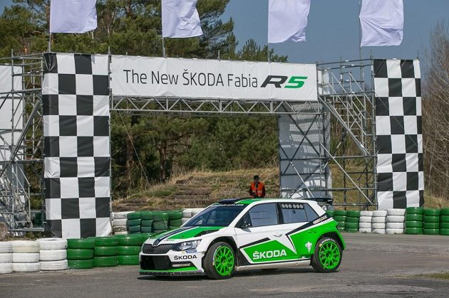 Škoda Fabia R5 při oficiálním představení v Bělé pod Bezdězem.