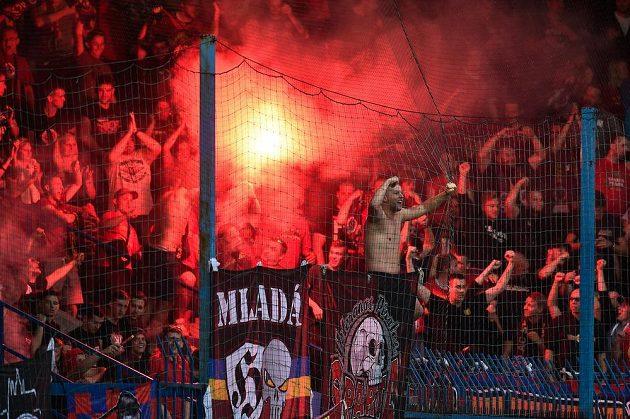 Fanoušci Sparty po prvním gólu v Liberci.