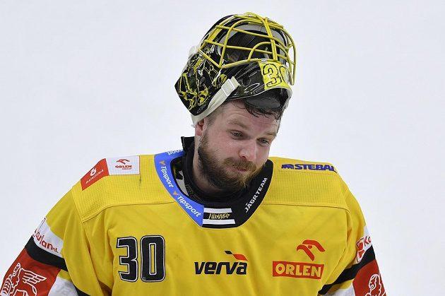 Brankář Denis Godla z Litvínova.