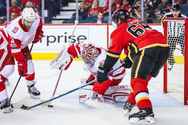 Útočník Jaromír Jágr v dresu Calgary zle zatápěl svému krajanovi Petru Mrázkovi v brance Detroitu během utkání NHL.