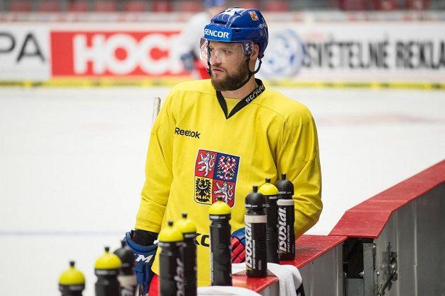 Obránce Michal Jordán během tréninku hokejové reprezentace.